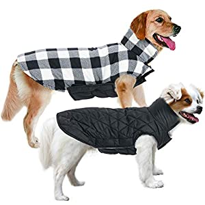MIGOHI Dog Jackets for Winter Windproof Reversible Dog Coat for Cold Weather British Style Plaid Warm Dog Vest for Small Medium Large Dogs
