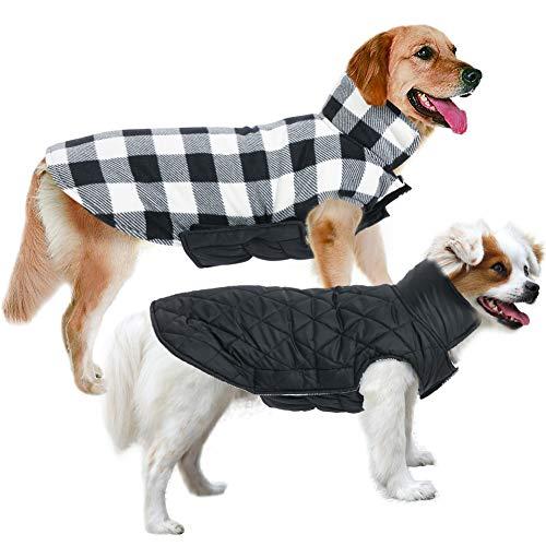 MIGOHI Hundejacken für den Winter, winddicht, wendbar, Hundemantel für kaltes Wetter, britischer Stil, kariert, warme Hundeweste für kleine, mittelgroße und große Hunde, XS