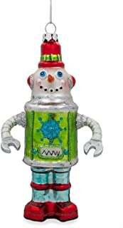 BestPysanky Robot Snowman Blown Glass Christmas Ornament 5.75 Inches