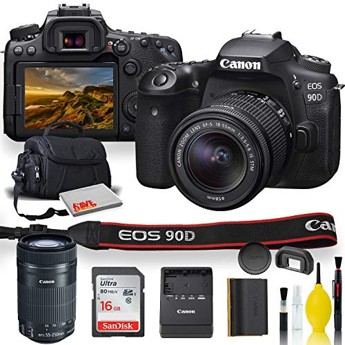 Canon EOS 90D DSLR Camera with 18-55mm Lens, Canon EF-S 55-250mm f/4-5.6 is STM Lens, Soft Padded Case, Memory Card, and More (International Model)