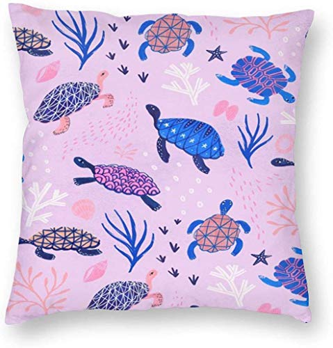BONRI Turtles Pillowslip Unique Throw Pillow Cover Cojines creativos Fundas con Cremallera Funda de Almohada con Estampado Decorativo para el hogar para sofá Sofá , (16'x16 / 40x40cm