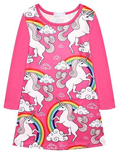 trudge Mädchen Kleid Langarm T-Shirt Kleid Einhorn Meerjungfrau Sommerkleid Freizeitkleid Kinder Nachthemden Playwear Kleid 2-10 Jahre