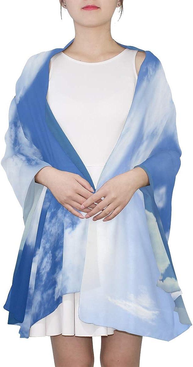 Fashion Scarfs Women Horse Shapelike Cloudy On Bright Blue Ladies Shawl Wrap Womans Shawl Wrap Lightweight Print Scarves Printed Lightweight Scarf Designer Scarfs Women