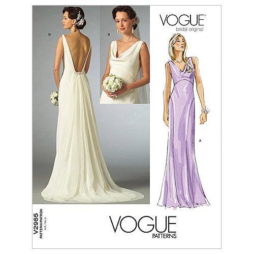 Vogue 2965- Patrón de Costura para Confeccionar Vestido de Novia (Tallas 42,...