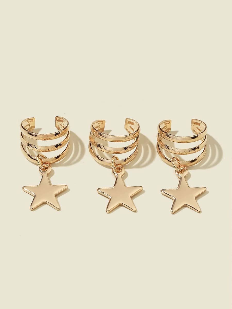 AXJTNL Hoop Earrings 3pcs Star Charm Ear Cuff (Color : Gold)