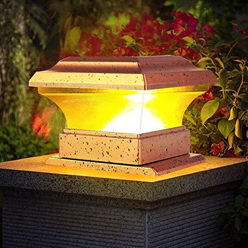 Hopcd Luces solares para Poste, iluminación LED para Valla de energía Solar al Aire Libre, Impermeable, lámpara de Pilar...