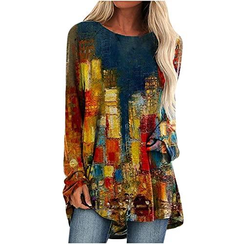Fishoney T-Shirt col Rond à Manches Longues pour Femmes Ample Tops Chemisier Impression de scènes urbaines Tee Shirt Blouse décontracté Shirt de Sport Chemise Chic Simple Chemise Tops