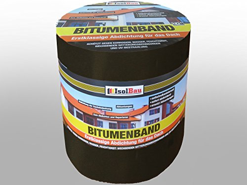 10 m x 300 mm IsolBau Aluminium Bitumenband Dachreparatur Aluminiumband Reparaturband Dach Aluband Selbstklebende Farbe: Schwarz