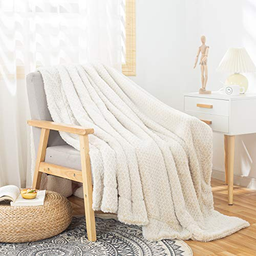 GONAAP Mink Faux Fur Throw Blanket Sherpa Backing Luxury Super Cozy Warm Decorative Honeycomb Design Reversible for Coach Bed Sofa(Double Ivory 5060)