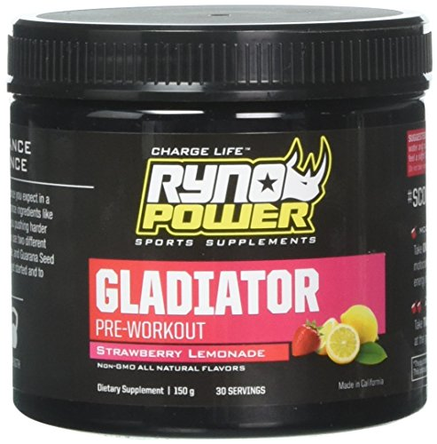 Ryno Power Gladiator Pre Workout - Non GMO / Gluten Free / Natural Flavor - Dual Stage Energy Booster (30 Servings)