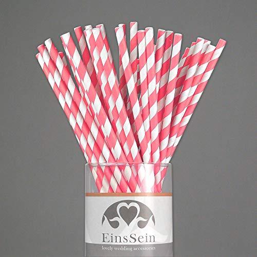 Trinkhalme aus Papier   rosa, weiß - 2