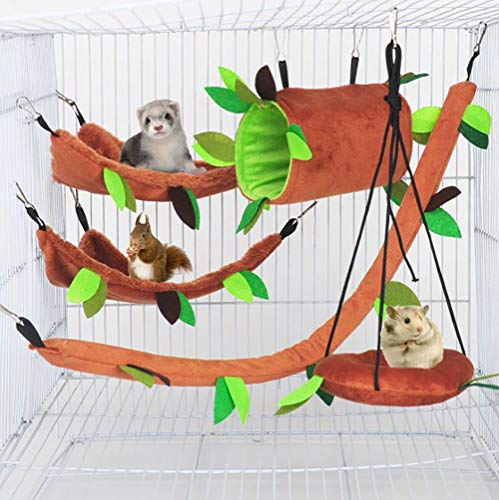 ISMARTEN 5pcs Hamster Hammock Small Animals Hanging Warm Bed House Cage Nest Accessories Forest Pattern Cage Toy Leaf Hanging Tunnel and Swing for Sugar Glider Squirrel Hamster Playing Sleeping