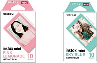 Fujifilm Instax Mini Pink Lemonade Film - 10 Exposures & Instax Mini Sky Blue Film - 10 Exposures