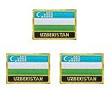 3 Stück Usbekistan bestickte Flaggen-Emblem-Applikation zum Aufbügeln oder Aufnähen.