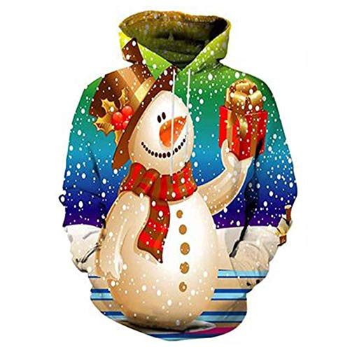 FHQCU Weihnachten Sweatshirts, 3D Print Neuheit Pullover Jumper Casual Sport Langarm Pullover Tops, Männer, Frauen,B,M