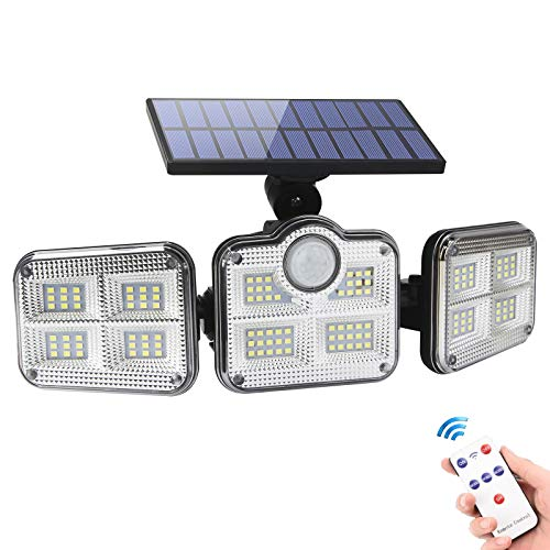 Luz Solar Exterior,Foco Solar Exterior con Sensor de Movimiento,Lámpara Solar con 3 Cabezales Ajustables 270° lluminación,P65 Impermeable Luz Solar de Seguridad con Mando a Distancia