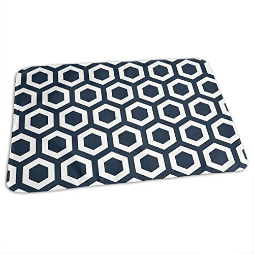 "Lovely Baby Reusable Waterproof Portable Navy Hexagons Changing Pad Home Travel 27.5""x19.7"""