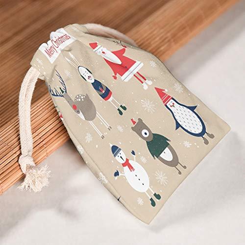 O2ECH-8 Set van 6 Kerstman Kerstmis canvas organiseren koordsluitingen zakken wasbaar product Pouch Bags Fit Kerstmis verjaardag geschenk Wrap - Vrolijk kerstmotief afdrukken 20 * 25cm wit