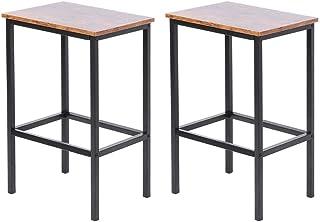 Ausla – Juego de 2 sillas de bar, taburete de bar, taburetes altos de estilo industrial, para cocina, comedor, salón, 30 x 40 x 63,5 cm
