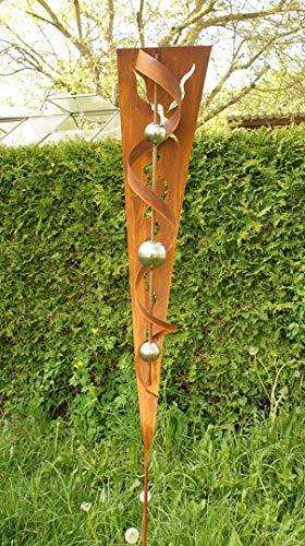 Gartendeko Skulptur Rost Stecker mit Glanz Edelstahlkugeln
