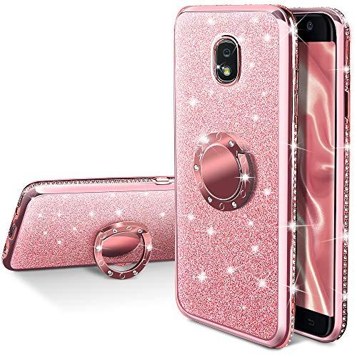 Galaxy J3 2018 Glitter Case,J3 Eclipse 2/J3 Orbit/J3 Achieve Case, Silverback Girls Women Bling Glitter Case with Ring Stand for Samsung J3 Emerge 2018 -Rose Gold