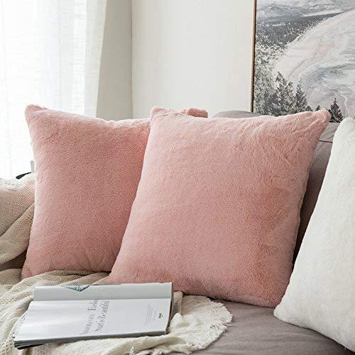 MIULEE 2er Set Sehr weiche Warn Serie Faux Kaninchenfell Dekokissen Fall Kissenbezug für Sofa Schlafzimmer 18x18 inch 45x45 cm