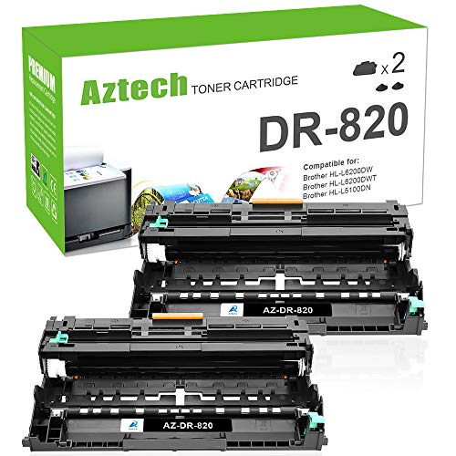 Aztech Compatible Drum Unit Replacement for Brother DR820 DR-820 for Brother HL-L6200DW MFC-L5850DW MFCL5900DW MFCL6700DW MFCL5800DW HLL6200DW HLL5200DW HLL5100DN HLL6300DW MFCl5900W (Black, 2-Pack)