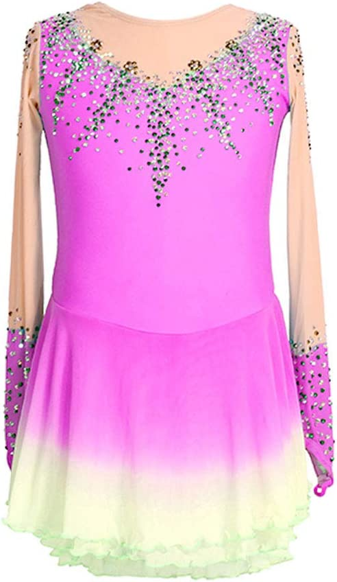 Kmgjc Figure Skating Dress All items free shipping Girls' Ic Jeweled Rhinestone 1 year warranty Handmade