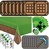 Minecraft Party Supplies, Minecraft Birthday Party Supplies for Boys or Girls - Serves 16 Guests - With Table Cover, Plates and More