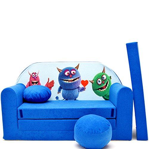 barabike Kindermöbel C28 Enfants Canapé ausklapp Bar Canapé-lit canapé Mini Basse 3 en 1 Ensemble pour bébé + Fauteuil pour Enfant et Coussin d'assise + Matelas