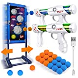 Kaufam Gun Toy Gift for Boys Age of 4 5 6 7 8 9 10 10+ Years Old Kids Girls for Birthday with Moving Shooting Target 2 Blaster Gun and 18 Foam Balls (Toy Gun Set)