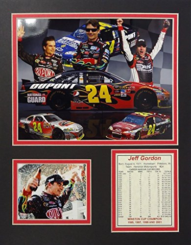 Jeff Gordon NASCAR Auto Racing Double Matted 8x10 Photograph Collage