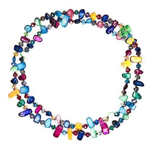 PARAISO CURVY Collares largos de colores mujer bisutería de piedras nacarinas y cristal facetado. (Colores fuertes)