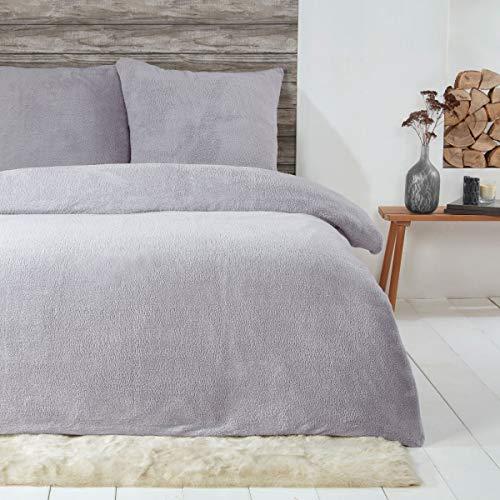 Sleepdown Teddy-Fleece-Bettwäsche-Set, warm, kuschelig, superweich, 135 x 200 cm + 1 Kissenbezug 80 x 80 cm, Grau