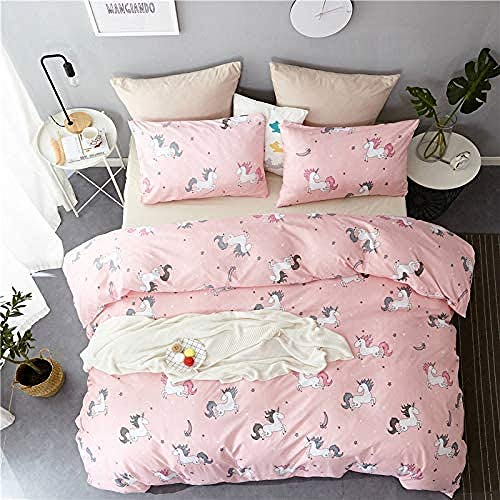 BH-JJSMGS Printed duvet cover and pillowcase, easy to care, soft microfiber 3-piece cute girl child bedding set, pattern 03King220*240cm