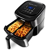 NUWAVE BRIO 6-Quart Digital Air Fryer with one-touch digital controls, 6 easy presets, precise temperature control, recipe book, basket divider, wattage control, PREHEAT & REHEAT Function