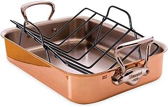 Mauviel 6017.4 M'héritage 150s Rectangular Roasting Pan with Rack Copper 9.8-Qt.