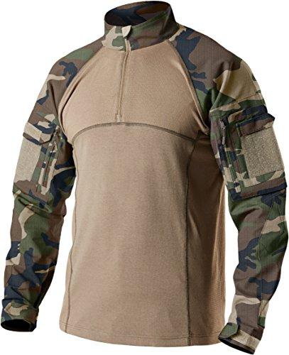 CQR Men's Combat Shirt Tactical 1/4 Zip Assault Long Sleeve Military BDU Shirts Camo EDC Top, Combat Shirts(tos201) - Woodland Olive, Small