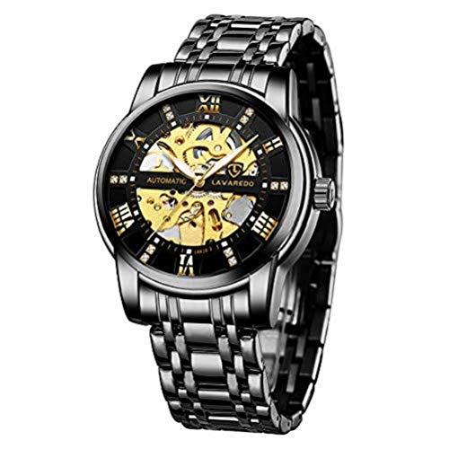 Relojes, Relojes Hombre Negro Mecánico Automático Esquelet