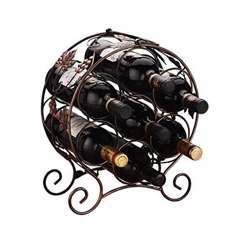 Tangrong Wine Rack, European Style Retro smeedijzer Ronde Kluis Niet-slip Wine Bottle Holder, persoonlijkheid Creative Countertop Furniture Toon wijnfles Shelf, 12.2 * 6.1 * 17.3in