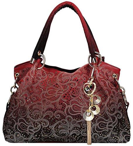 Coofit Moda Vintage Tote Bag Borsa Delle per le Donna (Rosso)