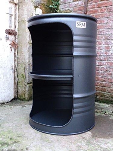 Fassmöbel Fass Design Regal Ölfass Möbel 210 Liter Volumen Farbe Schwarz Matt/Beleuchtung mit 2 Lampenfassungen