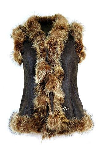 DX-Exclusive wear Damen-Schaffellweste, Lammfellweste/Gilet, Weste mit Fuchspelz KK-0004 (42)