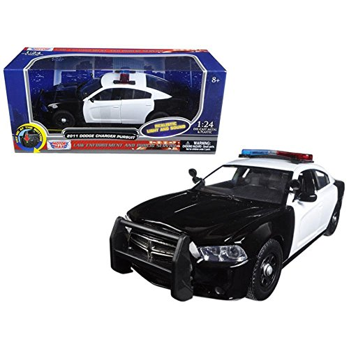 Motormax 79533 2011 Dodge Charger Pursuit Police Car Black & White with Flashing Light bar, Front & Rear Lights & 2 Sounds 1/24 Diecast Model Car, Multi