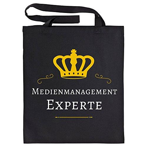 Baumwolltasche Medienmanagement Experte schwarz - Lustig Witzig Sprüche Party Einkaufstasche