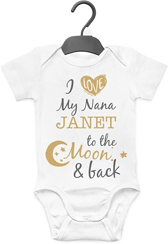 Personalised Baby Grow-I Love Auntie Any Name To The Moon And Back-Cotton Baby Grow-Novelty Baby Grows-Xmas Baby Gift-Baby Shower Gift