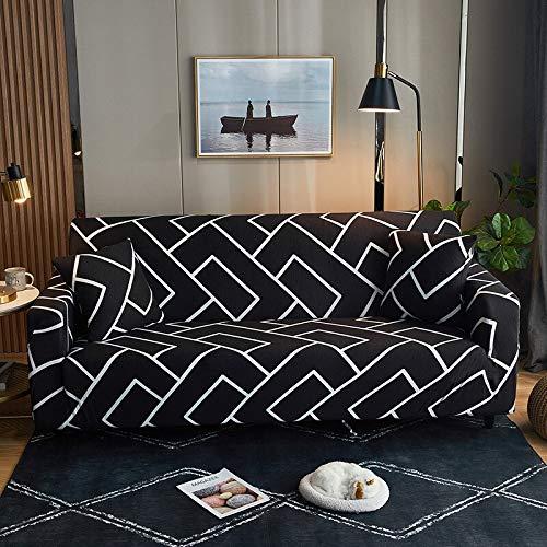 WXQY Funda de sofá elástica Floral para Sala de Estar Funda de sofá elástica de sección Transversal Moderna combinación de Funda de sofá de Esquina A10 3 plazas