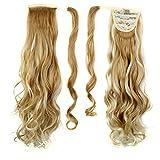 Frcolor Envuelva alrededor de Ponytail One Piece Clip en cabello rizado Extensiones de cabello Tial 24inch para la mujer Señora Mujeres (27/613)