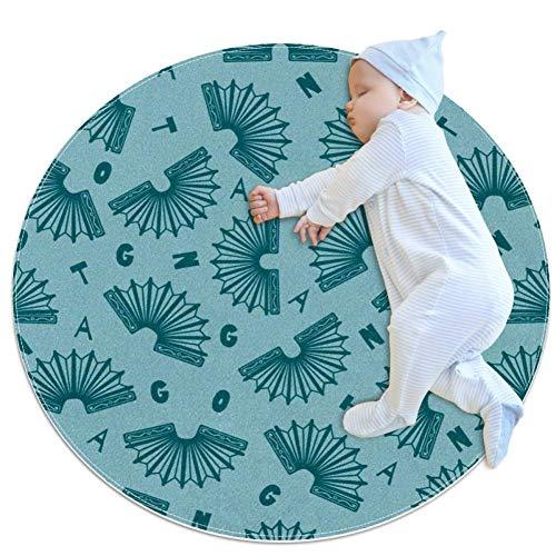 NOBRAND Tango und verstreute Buchstaben Tango Runde Fußmatte, rutschfest, rund, Teppich für Diele, Badezimmer, Schlafzimmer, Wohnzimmer, Sofa, 80x80cm