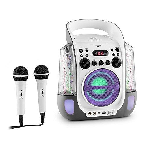 Auna Kara Liquida - Kit Karaoke, 2 microfoni dinamici, Lettore CD+G, Accesso USB, capacitá MP3, Uscita Video, usicta Audio, Effetto Eco, Funzione AVC, Bianco
